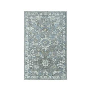 "Shahbanu Rugs White Wash Peshawar Pure Wool Hand-Knotted Oriental Rug (3'0"" x 4'9"") - 3'0"" x 4'9"""