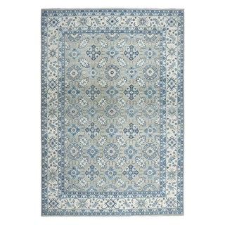 "Shahbanu Rugs Gray Vintage Look Kazak Geometric Design Hand-Knotted Oriental Rug (9'9"" x 13'7"") - 9'9"" x 13'7"""