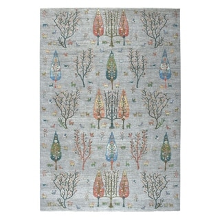 """Shahbanu Rugs Gray Willow And Cypress Tree Design Pure Wool Hand-Knotted Rug (9'9"""" x 13'7"""") - 9'9"""" x 13'7"""""""
