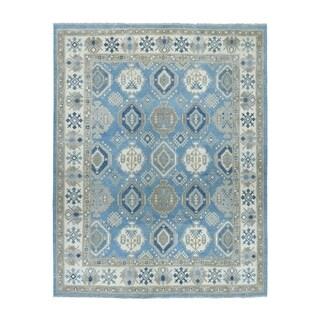 "Shahbanu Rugs Blue Vintage Look Kazak Geometric Design Pure Wool Hand-Knotted Rug (8'1"" x 9'9"") - 8'1"" x 9'9"""