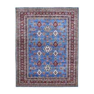 "Shahbanu Rugs Blue Super Kazak Geometric Design Pure Wool Hand-Knotted Oriental Rug (8'0"" x 10'6"") - 8'0"" x 10'6"""
