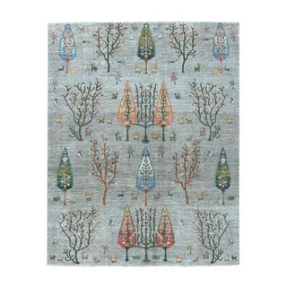 """Shahbanu Rugs Gray Willow And Cypress Tree Design Pure Wool Hand-Knotted Rug (7'10"""" x 10'0"""") - 7'10"""" x 10'0"""""""