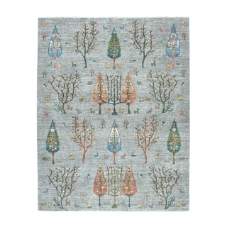 """Shahbanu Rugs Gray Willow And Cypress Tree Design Pure Wool Hand-Knotted Rug (8'0"""" x 9'7"""") - 8'0"""" x 9'7"""""""