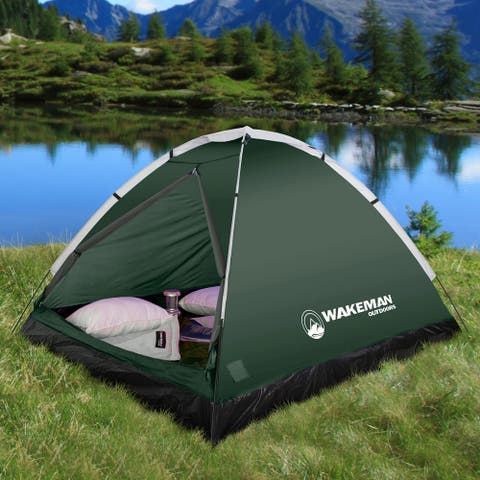 2-Person Dome Tent by Wakeman Outdoors - Tent: 84 x 70 x 48; Bag: 24 x 4
