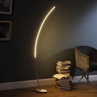 Bradie Brushed Nickel LED Arc Tube Floor Lamp
