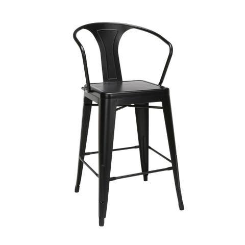 "OFM 161 Collection Industrial Modern 26"" Mid Back Metal Armchair Stools, Galvanized Steel Indoor/Outdoor Bar Stools"