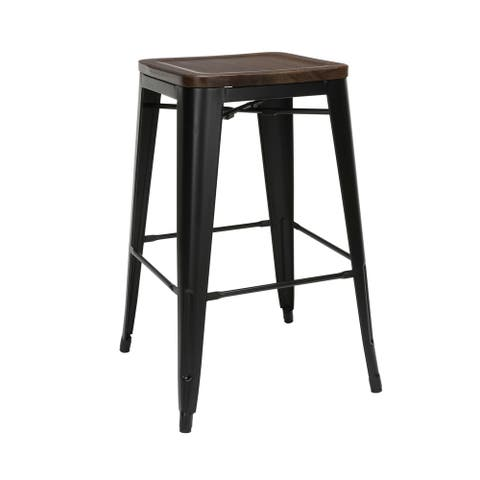 """OFM 161 Collection Industrial Modern Fully Assembled 30"""" Backless Bar Height Metal Stools with Solid Ash Wood Seats"""