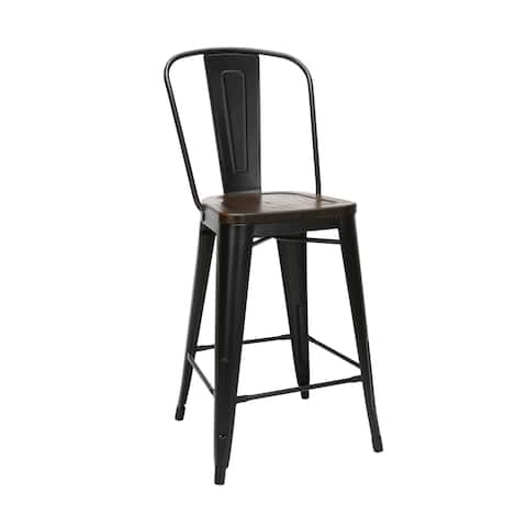 """OFM 161 Collection Industrial Modern 26"""" High Back Metal Stools with Solid Ash Wood Seats"""