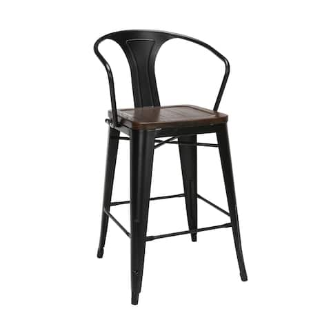 """OFM 161 Collection Industrial Modern 26"""" Mid Back Metal Stools with Arms and Solid Ash Wood Seats"""