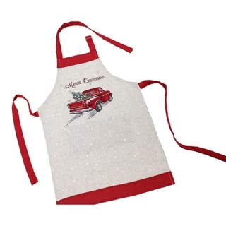 Merry Christmas Truck Embroidered Apron Adults Size 30 by 26-Inch