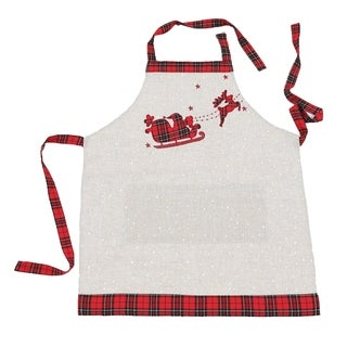 Applique Tartan Santa Sleigh With Reindeers Christmas Apron Adults Size 30 by 26-Inch