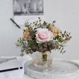 MEDA BLOOMS Faux Small Natural Pink Bouquet in Gold Dot Glass