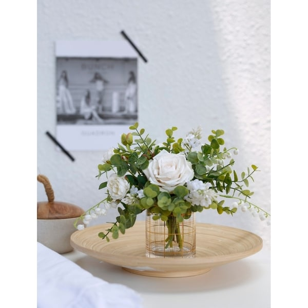 MEDA BLOOMS Faux Small Natural Green and white Bouquet in Gold Linear Patterning Glass