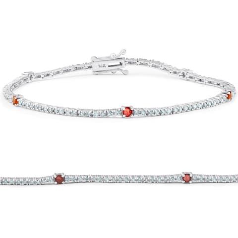 "1 1/10 Ct Diamond & Genuine Ruby Tennis Bracelet 14k White Gold 7"""