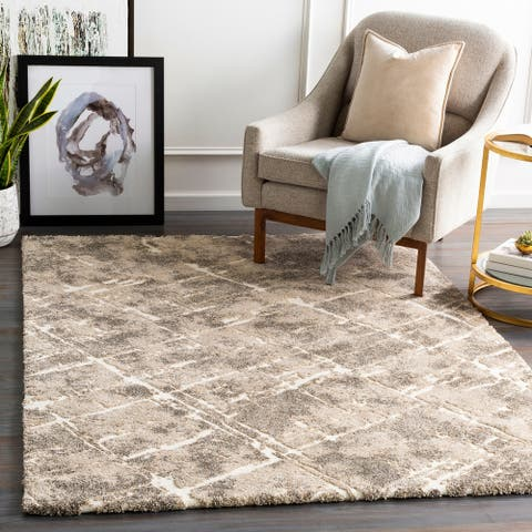 Mizzie Plush Abstract Stripes Area Rug