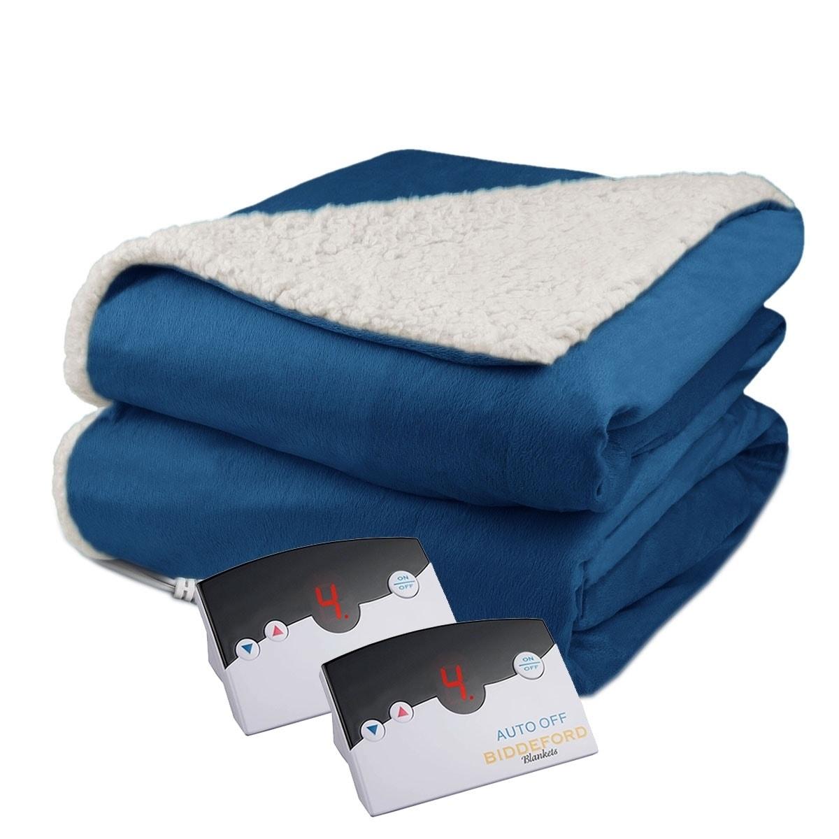 Brick Red Biddeford Soft Velour /& Sherpa Electric Heated Throw Blanket 13/' Cord