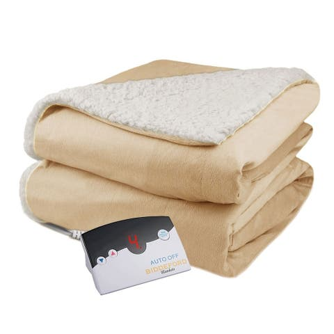 Biddeford Velour Sherpa Electric Heated Warming Blanket Full Linen
