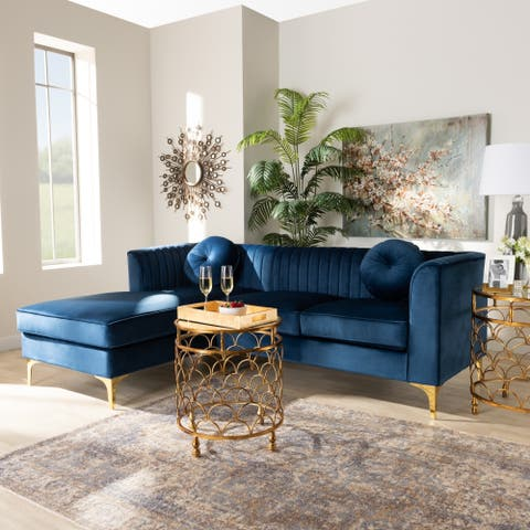 Giselle Glam Upholstered Left Facing Sectional Sofa with Chaise