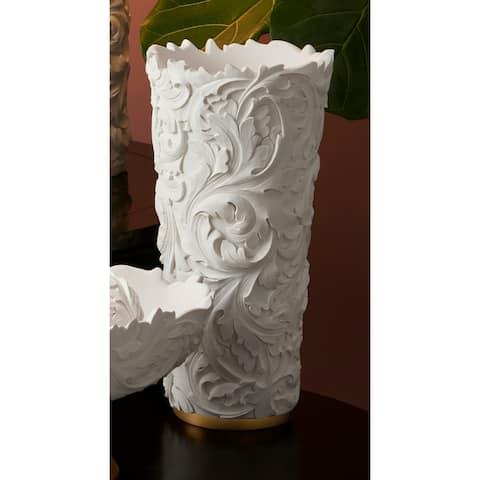 15.75 In. Alba White/Gold Decorative Vase
