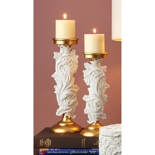 Alba White/Gold Baroque Scroll Candleholder Set of 2