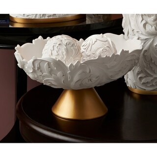 Gracewood Hollow Tati 8.75-inch White and Goldtone Baroque Scroll Bowl