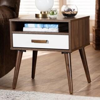 Quinn Mid-Century Modern 1-Drawer Wood End Table
