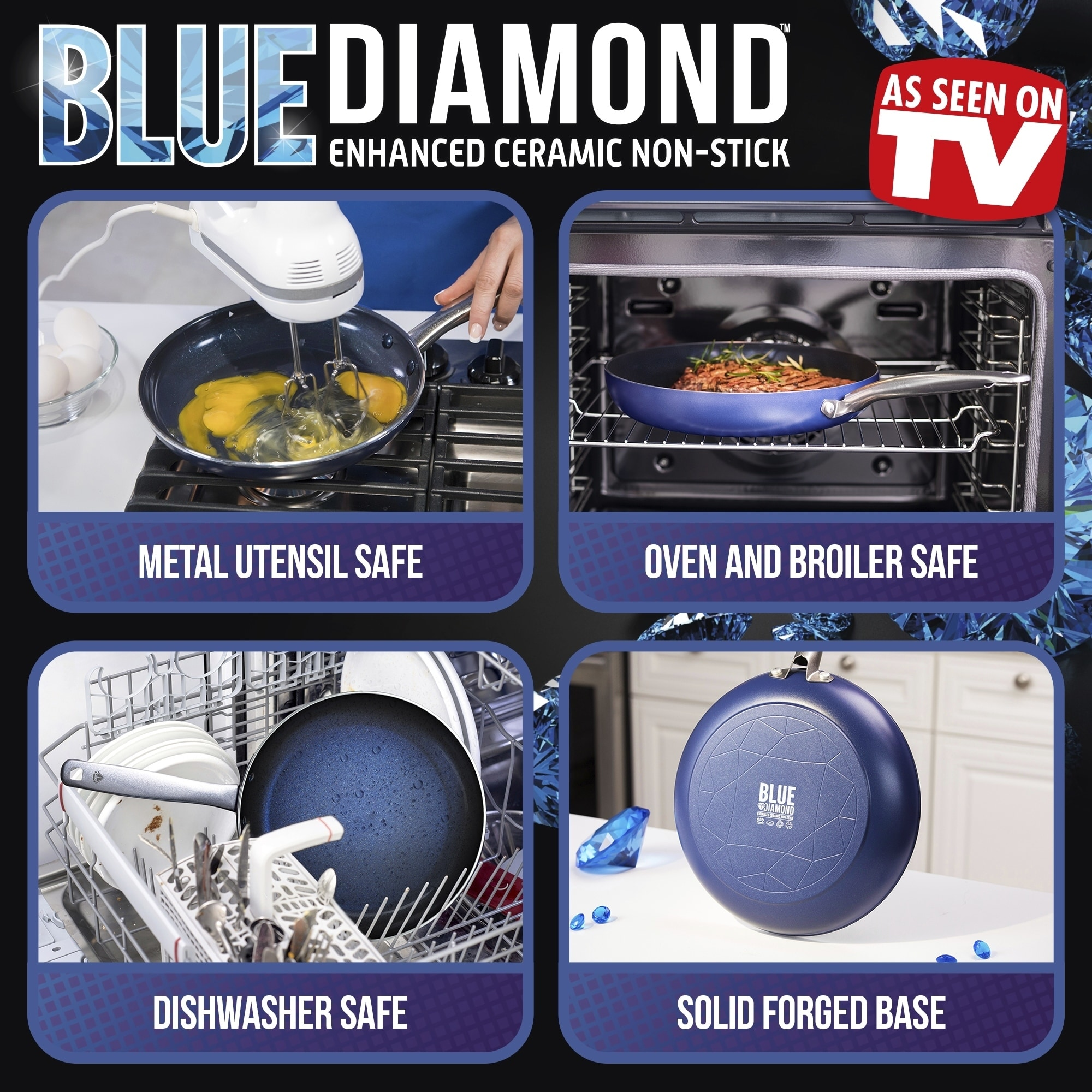 "Blue Diamond Ceramic Nonstick Fry Pan 8/"" 10/"" 12/"" Frypan Toxin free ceramic NEW"
