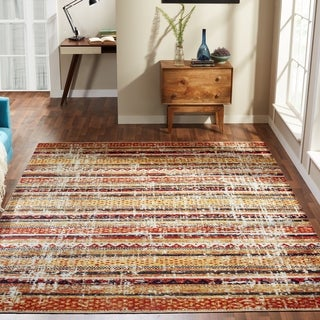 Link to Porch & Den Pommel Distressed Red/Gold Striped Indoor/ Outdoor Area Rug Similar Items in Transitional Rugs