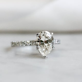 Link to Annello by Kobelli 14k Gold 2 3/5ct TGW Pear Moissanite and Diamond Engagement Ring Similar Items in Rings