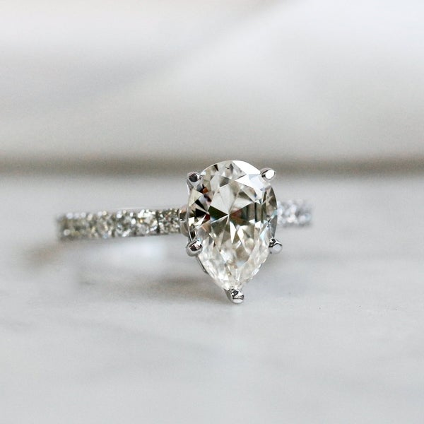 Annello by Kobelli 14k Gold 2 3/5ct TGW Pear Moissanite and Diamond Engagement Ring. Opens flyout.
