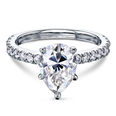Annello by Kobelli 14k Gold 2 3/5ct TGW Pear Moissanite and Diamond Engagement Ring