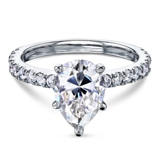 Link to Annello by Kobelli 14k Gold 2 3/5ct TGW Pear Forever One Moissanite and Diamond Engagement Ring (DEF/VS, GH/I) Similar Items in Rings