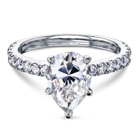 Annello by Kobelli 14k Gold 2 3/5ct TGW Pear Forever One Moissanite and Diamond Engagement Ring (DEF/VS, GH/I)
