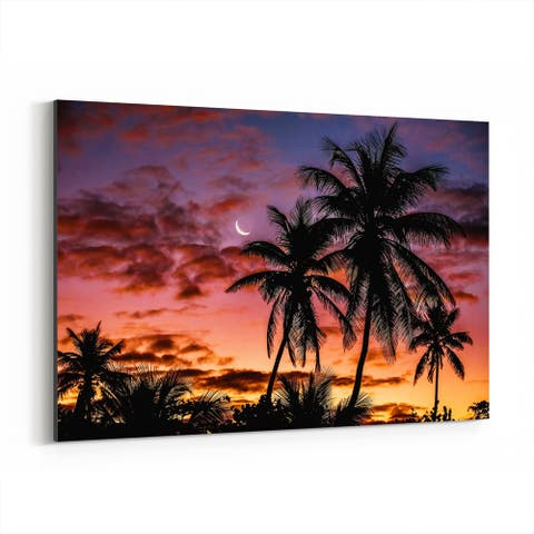 Noir Gallery Palm Trees Tropical Sunset Canvas Wall Art Print