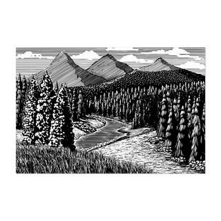 Noir Gallery Mountain Nature Landscape Woodcut Unframed Art Print/Poster