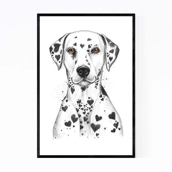 Noir Gallery Funny Dalmatian Dog Humor Love Framed Art Print
