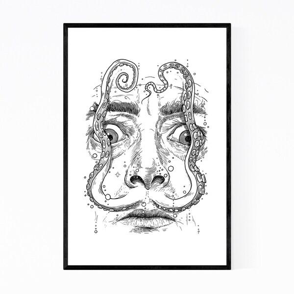 Noir Gallery Salvador Dali Octopus Funny Framed Art Print