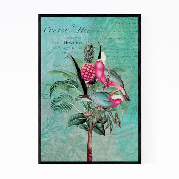 Noir Gallery Parakeet Palm Tree Typography Framed Art Print