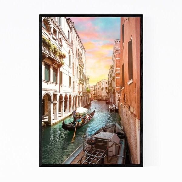 Noir Gallery Venice Italy Canal Gondola Photo Framed Art Print