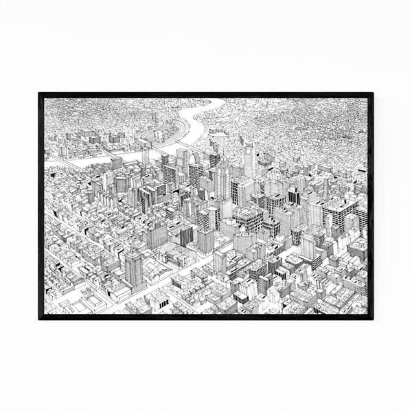 Noir Gallery Philadelphia Skyline Drawing Framed Art Print