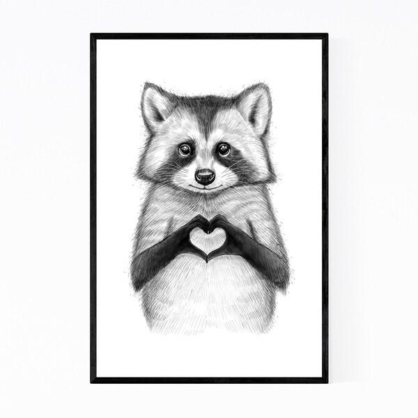 Noir Gallery Raccoon Animal Funny Humor Framed Art Print