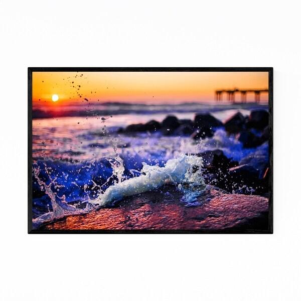 Noir Gallery Beach Ocean Coastal Pier Sunset Framed Art Print
