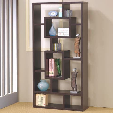 Modern Mosaic Design Cappuccino Bookcase Display
