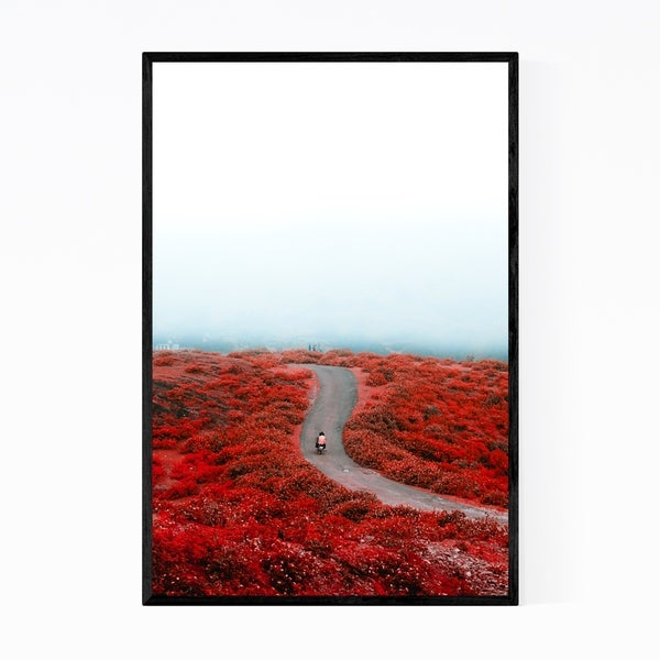 Noir Gallery Floral Botanical Motorcycle Mountain Framed Art Print