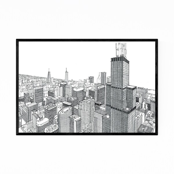 Noir Gallery Chicago Skyline Cityscape Drawing Framed Art Print
