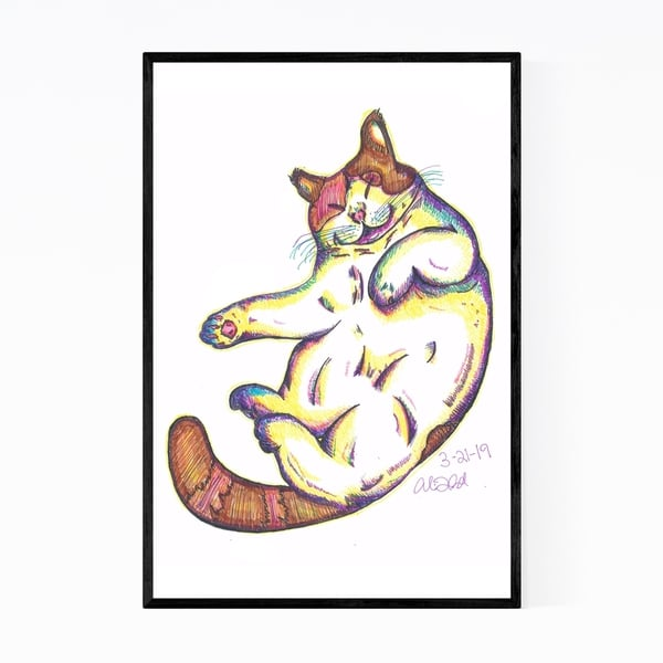 Noir Gallery Cute Cat Pet Animal Drawing Framed Art Print