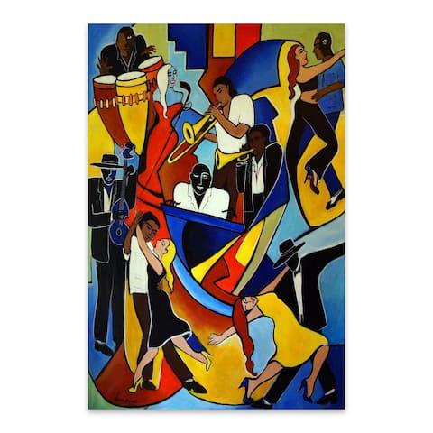 Noir Gallery Latin Jazz Salsa Dancers Painting Metal Wall Art Print
