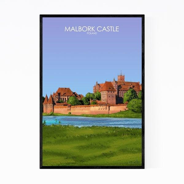 Noir Gallery Malbork Castle Poland Travel Poster Framed Art Print