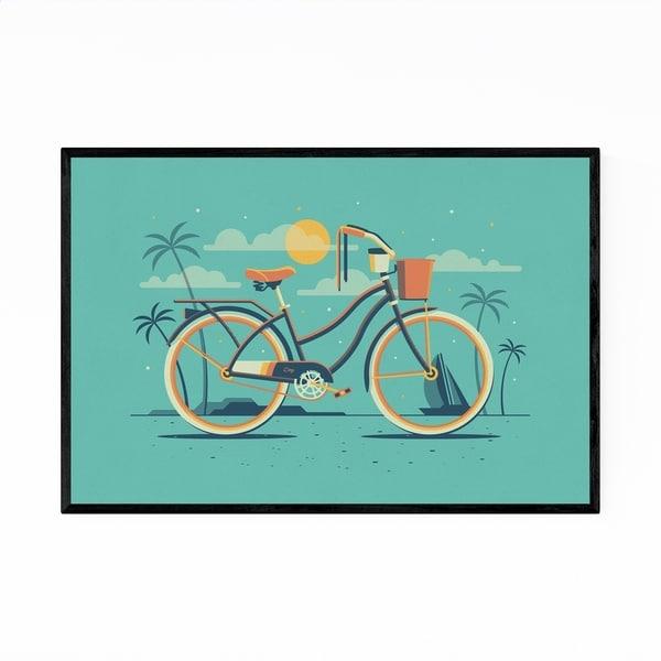 Noir Gallery Beach Cruiser Bicycle Palm Trees Framed Art Print