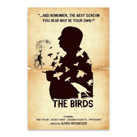 Noir Gallery Hitchcock The Birds movie poster Metal Wall Art Print